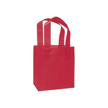 Red Frosted High Density Shoppers, 6 1/2 x 3 1/2 x 6 1/2""