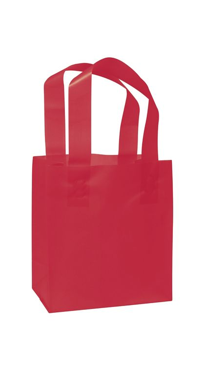 """Red Frosted High Density Shoppers, 6 1/2 x 3 1/2 x 6 1/2"""""""