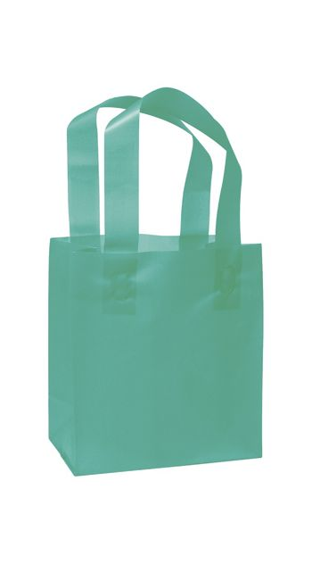 Teal Frosted High Density Shoppers, 6 1/2 x 3 1/2 x 6 1/2