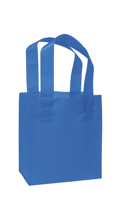 Blue Frosted High Density Shoppers, 6 1/2 x 3 1/2 x 6 1/2""