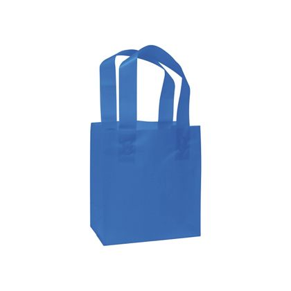 Blue Frosted High Density Shoppers, 6 1/2 x 3 1/2 x 6 1/2
