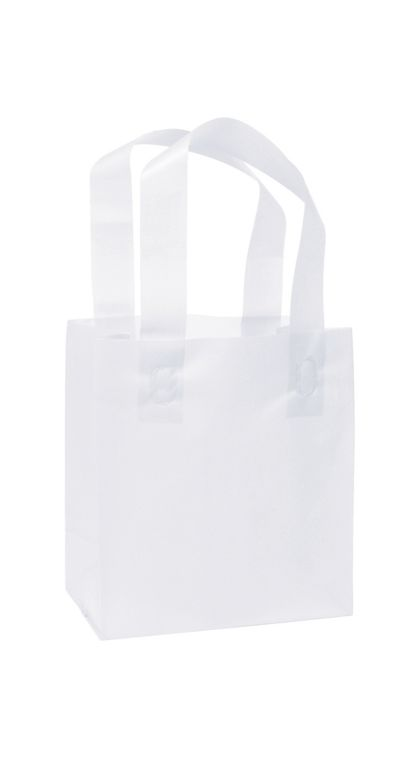 White Frosted High Density Shoppers, 6 1/2 x 3 1/2 x 6 1/2