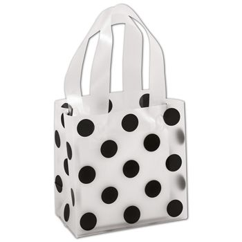 Black Dots Clear-Frosted Shoppers, 6 1/2 x 3 1/2 x 6 1/2