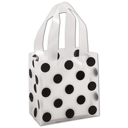 Black Dots Clear-Frosted Shoppers, 6 1/2 x 3 1/2 x 6 1/2""