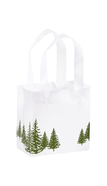 Icy Evergreen Shoppers, 6 1/2 x 3 1/2 x 6 1/2""