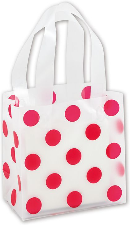 Red Dots Clear-Frosted Shoppers, 6 1/2 x 3 1/2 x 6 1/2""