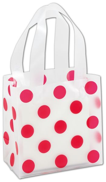 Red Dots Clear-Frosted Shoppers, 6 1/2 x 3 1/2 x 6 1/2