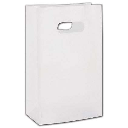 """Clear Frosted Die-Cut Bags, 7 x 3 1/2 x 10 1/2"""""""