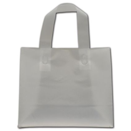 """Clear Frosted Flex-Loop Shoppers, 8 x 4 x 7"""""""