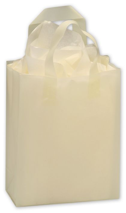 """White Frosted High Density Shoppers, 8 x 4 x 10"""""""