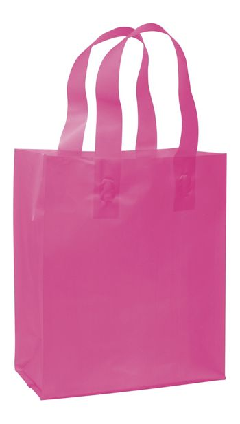 Cerise Frosted High Density Shoppers, 8 x 4 x 10