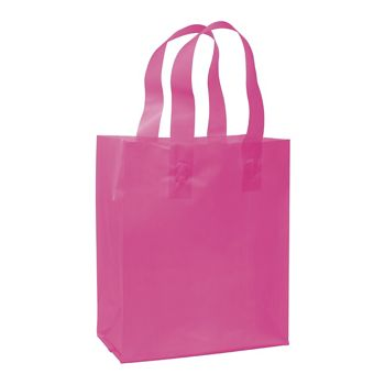 Cerise Frosted High Density Shoppers, 8 x 4 x 10""