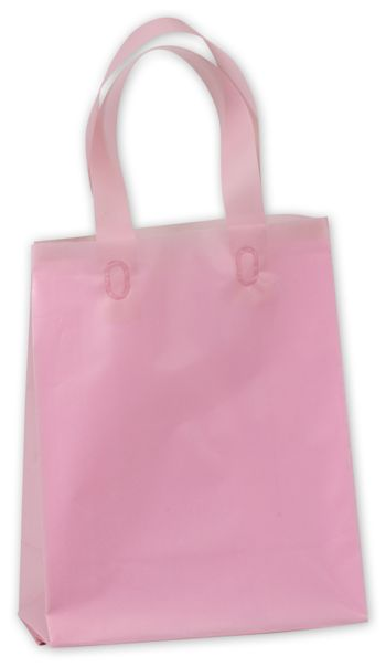 Dusty Rose Frosted High Density Shoppers, 8 x 4 x 10
