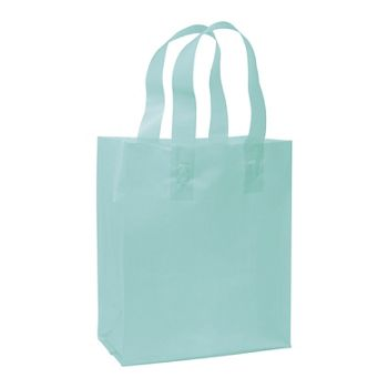 Turquoise Frosted High Density Shoppers, 8 x 4 x 10
