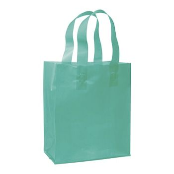 Teal Frosted High Density Shoppers, 8 x 4 x 10