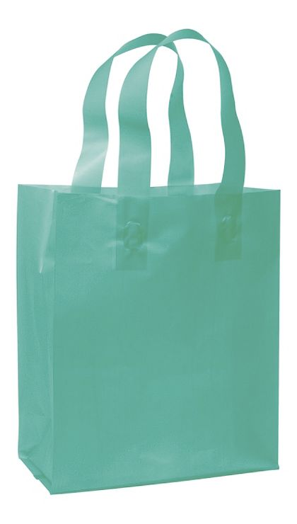 Teal Frosted High Density Shoppers, 8 x 4 x 10""