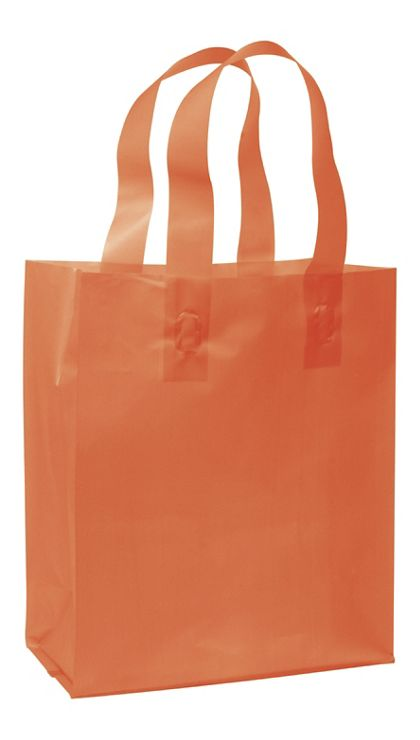 Orange Frosted High Density Shoppers, 8 x 4 x 10""
