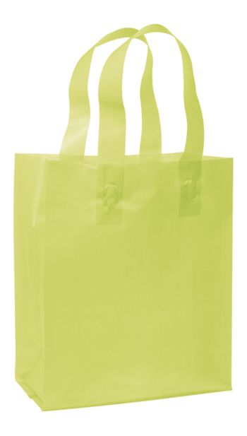 Lime Green Frosted High Density Shoppers, 8 x 4 x 10
