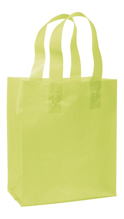 Lime Green Frosted High Density Shoppers, 8 x 4 x 10""