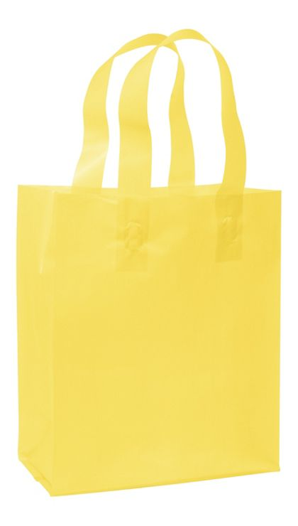 Yellow Frosted High Density Shoppers, 8 x 4 x 10""