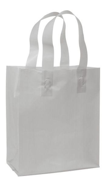 Silver Frosted High Density Shoppers, 8 x 4 x 10