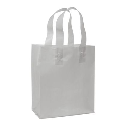 Silver Frosted High Density Shoppers, 8 x 4 x 10""