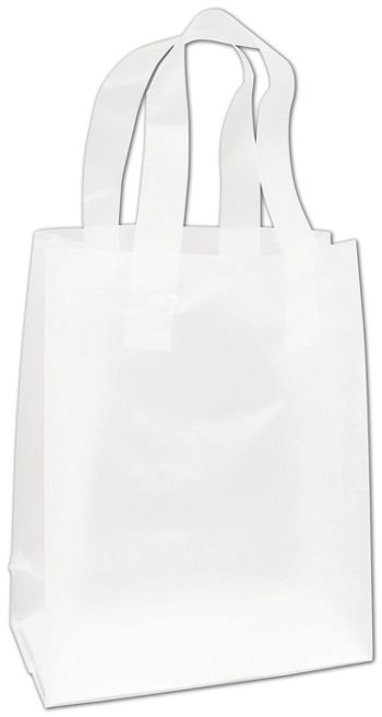 Clear Frosted High Density Flex Loop Shoppers, 8x4x10