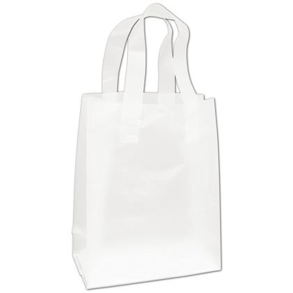 Clear Frosted High Density Flex Loop Shoppers, 8x4x10""