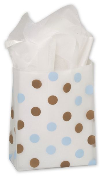 Brown & Blue Dots Clear-Frosted Flex Loop Shoppers