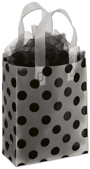Black Dots Clear-Frosted Shoppers, 8 x 4 x 10