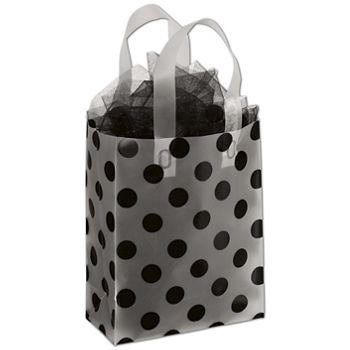 Black Dots Clear-Frosted Shoppers, 8 x 4 x 10""
