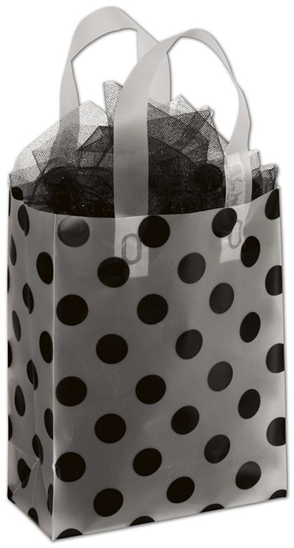 """Black Dots Clear-Frosted Shoppers, 8 x 4 x 10"""""""