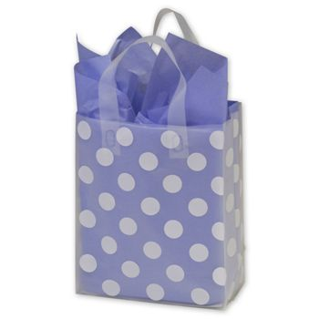 White Dots Clear-Frosted Flex Loop Shoppers, 8 x 4 x 10""