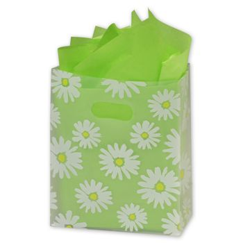 Daisy Die Cut Clear Frosted Shoppers, 8 x 4 x 10