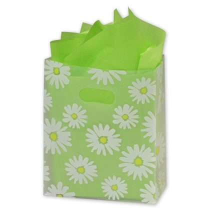 Daisy Die Cut Clear Frosted Shoppers, 8 x 4 x 10""