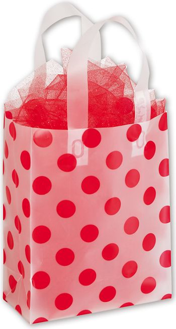 Red Dots Clear-Frosted Shoppers, 8 x 4 x 10