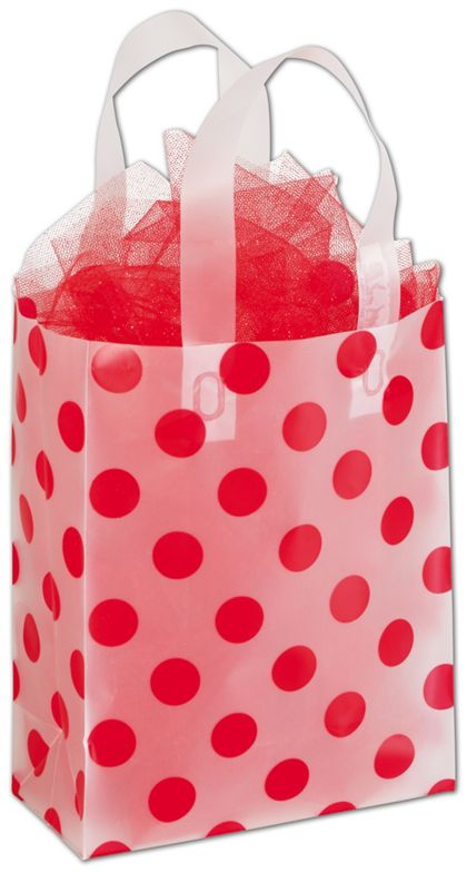 """Red Dots Clear-Frosted Shoppers, 8 x 4 x 10"""""""