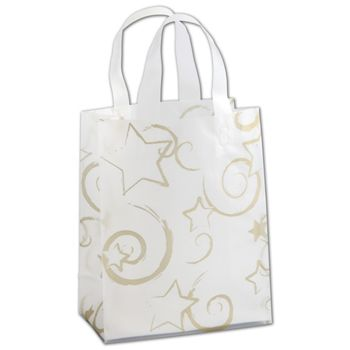 Stars Clear-Frosted Flex Loop Shoppers, 8 x 4 x 10