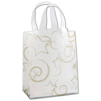 Stars Clear-Frosted Flex Loop Shoppers, 8 x 4 x 10""