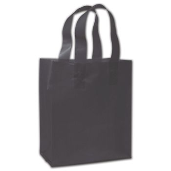 """Black Frosted Flex-Loop Shoppers, 8 x 5 x 10"""""""