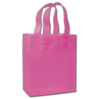 """Hot Pink Frosted Flex-Loop Shoppers, 8 x 5 x 10"""""""