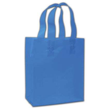 "Ocean Blue Frosted Flex-Loop Shoppers, 8 x 5 x 10"""