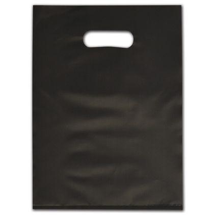 "Black Frosted Die-Cut Merchandise Bags, 9 x 12"""