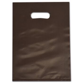 """Espresso Frosted Die-Cut Merchandise Bags, 9 x 12"""""""