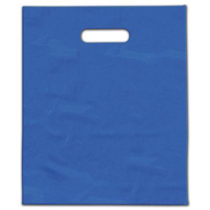 """Ocean Blue Frosted Die-Cut Merchandise Bags, 9 x 12"""""""