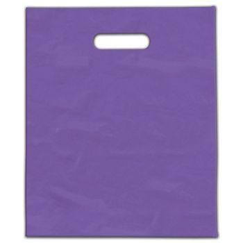 "Purple Frosted Die-Cut Merchandise Bags, 9 x 12"""