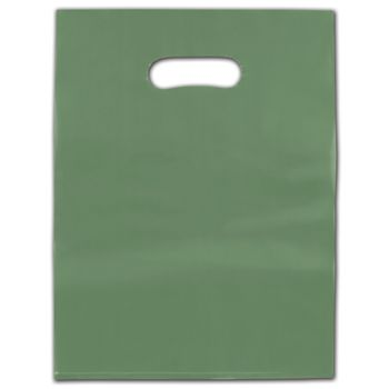 """Sage Frosted Die-Cut Merchandise Bags, 9 x 12"""""""