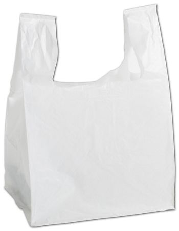 White Square Bottom T-Shirt Bags, 11 1/2 x 9 1/2 x 16