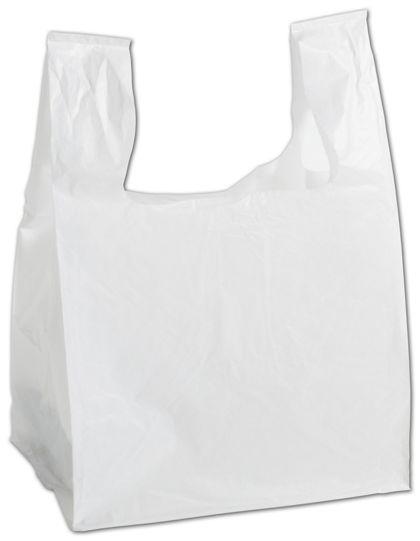 """White Square Bottom T-Shirt Bags, 11 1/2 x 9 1/2 x 16"""""""