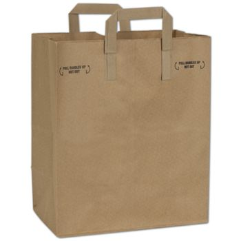 Natural Kraft Grocery Bags with Handles Down, 12 x 7 x 14
